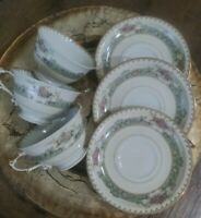 VTG MEITO Japan Hand Painted Tea Cups & Saucers. Set of 3. Classic Pattern. EUC.