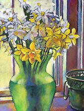 KMSchmidt 20x16 Ltd Ed ART PRINT impressionist YELLOW DAFFODILS & PAPERWHITES