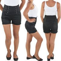 Damen Hochschnitt Hotpants Hot Pants Jeans Shorts Capri Kurze Hose Schwarz
