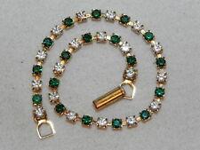 "Emerald Green & Clear Rhinestone Gold Tone 7 3/4"" Tennis Bracelet"
