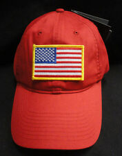 0d0c4511520 Nike Golf Unstructured Red Twill Dad Hat With Gold Border American Flag  Patch