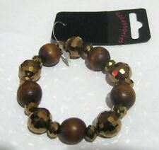 Lovely elasticated brown stone wooden and plastic beads some faceted