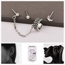 Simple Fashion Women Elegant Charm Cuff Chain Ear Stud Earrings Jewelry 3Pcs/Set