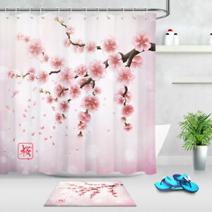 Japanese Pink Cherry Blossom Shower Curtain Bathroom Set Polyester Fabric Hooks
