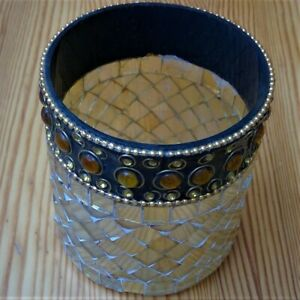 "mosaic mirroredcandle holder round 4"" height 3.25"" diameter amber pieces"