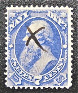 1873 US Official Navy Dept O39 Deep Blue Color Manuscript cancel Nice Centering
