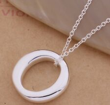 925 Sterling Silver Filled Simple O Ring Solid Charm Pendant Necklace Jewellery