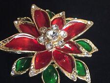 NIB MONET RED GREEN RHINESTONE CHRISTMAS POINSETTIA FLOWER PIN BROOCH JEWELRY