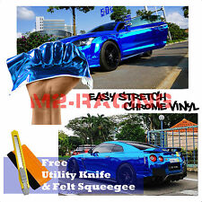 "*60""x360"" Supercast Easy Stretch Chrome Blue Car Vinyl Wrap Bubble Free Sticker"