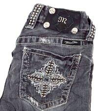 Miss Me Women's Black&Gray Boot Cut Denim Jeans w Studded Pockets 25 x 30