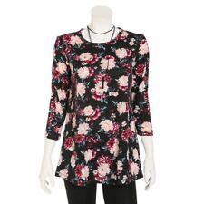 88aa9db48e96c3 Bobbie Brooks Floral Print Top with Necklace Women's Plus Size 1X, 2X, ...