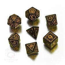 Q-workshop 7 Dice Set of Black & Yellow Runic Dice SRUN07