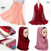 New Fashion Women Chiffon Pearl Scarf Islamic Muslim Hijab Lady Wrap Shawl Scarf