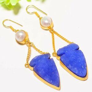 "Blue Titanium Druzy,Biwa Pearl Gemstone Gold Plated Fashion Jewelry Earring 2.8"""