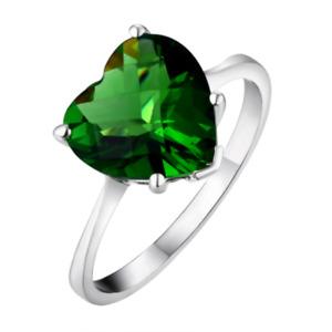 R0190G Mt. St. Helens Green Helenite 10mm 2Ct Heart Shape  Sterling Silver Ring
