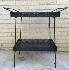 Vintage Mid Century Metal Mesh Serving Bar Cart Table Stand Patio Tray