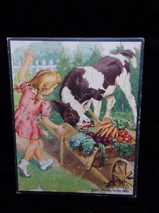 Vintage Whitman #2605 Frame Tray Inlay Kids Picture Puzzle - Girl & Her Calf