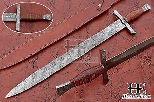 HUNTEX New Custom Handmade Damascus 790mm Long Full Tang Pakka Wood Viking Sword