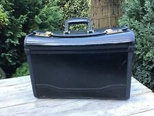 Leather Pilot Case Business Laptop Travel Flight Briefcase Hand Luggage BLACK
