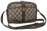 Authentic GUCCI Web Sherry Line Shoulder Bag GG PVC Leather Brown B5710