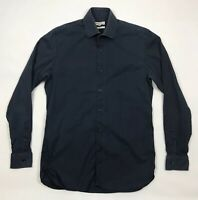 Reiss Mens Long Sleeve Shirt Medium Slim Fit Navy Blue Zinc Cotton