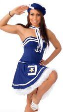 Womens Blue Sailor Fancy Dress Costume Size Medium