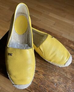 Yellow Leather Michael Kors Espadrilles Flat Summer Pump Slip Flat Shoes Uk 5.5