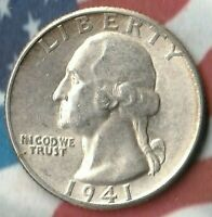 1941 United States Quarter Dollar~ 90% Silver- Silver Beauty