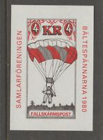 Sweden Falsharmspost 1980 hidden gum? mnh 8-27-7 cinderella stamp Parachute post
