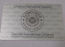 Open Blank Longines International Worldwide Service Guarantee and Warranty Card