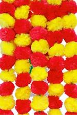 50 PC artificial Red And Yellow marigold flower string Vine backdrop Garland