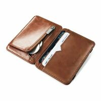 Men Small Leather Wallet with Cash Clip and Coin Pocket with Credit Card Holder