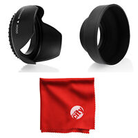 67MM Tulip Flower & Collapsible Rubber Lens Hood Set w/ Cleaning Cloth
