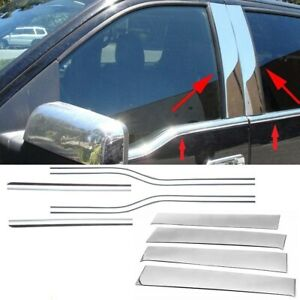 For 2009-2014 Ford F150 F-150 4Dr Crew Cab Chrome Window Sill + Pillar Post Trim