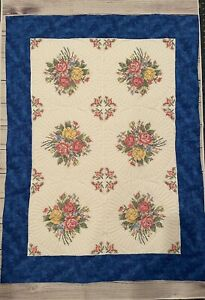 Quilt With Embroidery Handmade New Blue
