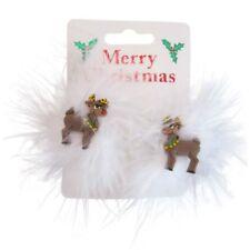 2 Navidad Reno Y Plumas Pelo Bendies sleepies Clips-Navidad festiva