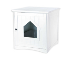 Trixie Wooden Pet Cat House, Animal Furniture Enclosure, Litter Boxes, in White