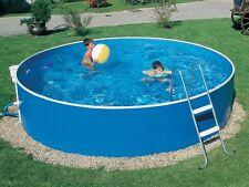 Rundpool Swimmingpool rund Schwimmbecken 3.66 m x 0,90 m blau mit Leiter