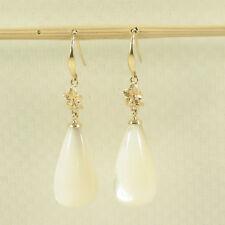 14k Solid Yellow Gold Hawaiian Plumeria White Mother of Pearl Hook Earrings TPJ