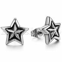 Men's Women's Black Silver Tone Stainless Steel Pentagram Earrings Ear Studs