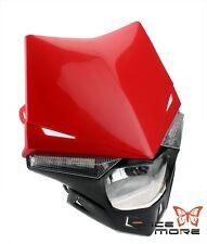 Red Motorcycle Dirt Bike 12V Headlight Enduro Road Legal For Supermoto Honda