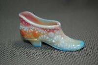 Vintage LG Wright Daisy & Button Variegated Glass Shoe Slipper