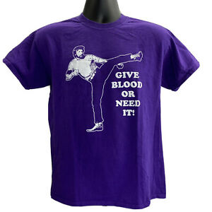 """Chuck Norris Men's Graphic Tee Purple ASBP """"Give Blood Or Need It"""" Size Medium"""