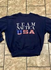 VINTAGE 90's Team NAUTICA USA MENS Large SWEAT SHIRT NAVY American Flag Rare