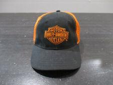 Harley Davidson Hat Cap Black Orange Mesh Trucker Biker Motorcycle Kids Boys