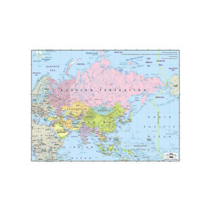 LARGE MAP OF ASIA SIZE 59*39in POSTER KIDS EDUCATION