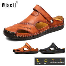 Mens Outdoor Leather Sandals Closed Toe Slippers Summer Camping Fisherman Shoes
