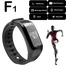 F1 Black Sports Fitness Blood Pressure Oxygen Heart Rate Monitor Bracelet Watch