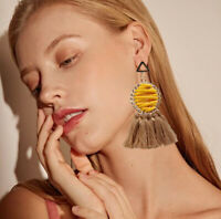Trendy Women Bohemian Earring Weave Tassel Dangle Drop Stud Earrings Jewelry