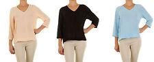 Taillenlange 3/4 Arm Damenblusen, - tops & -shirts im Blusen mit V-Ausschnitt